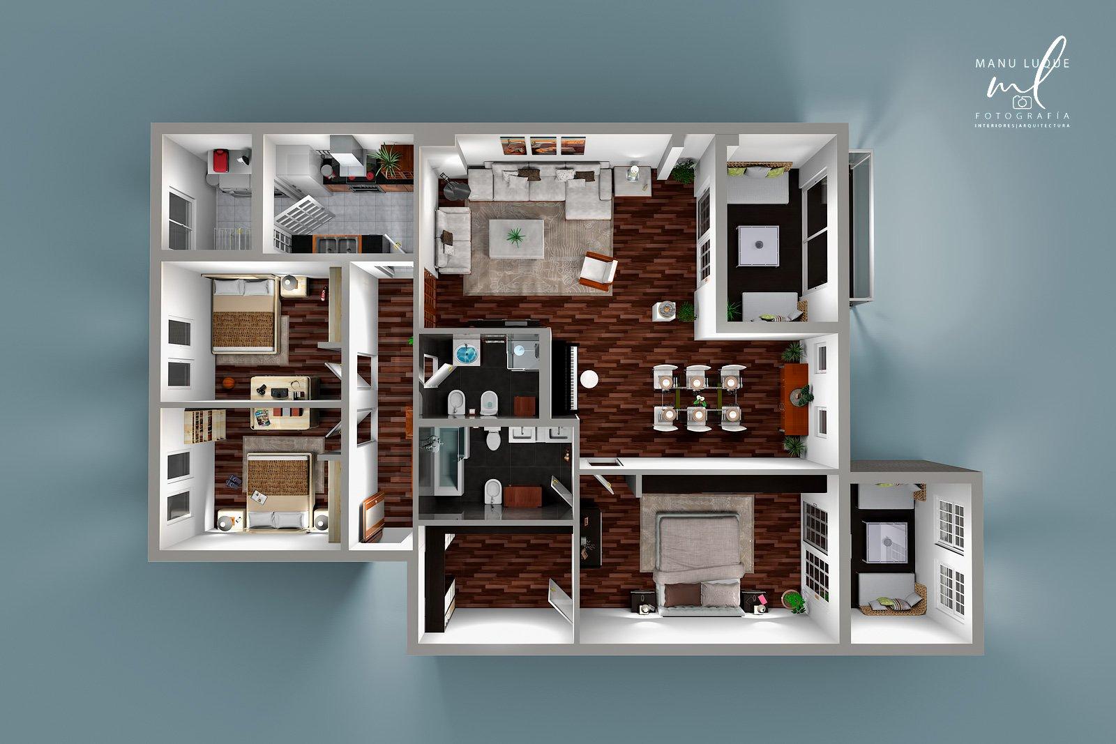 Plano 3D cenital casa 3 dormitorios